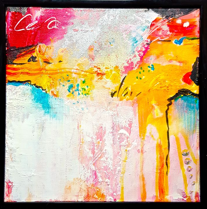 "Small abstract on canvas - ""Wildspringartstudio"" Laura Spring"