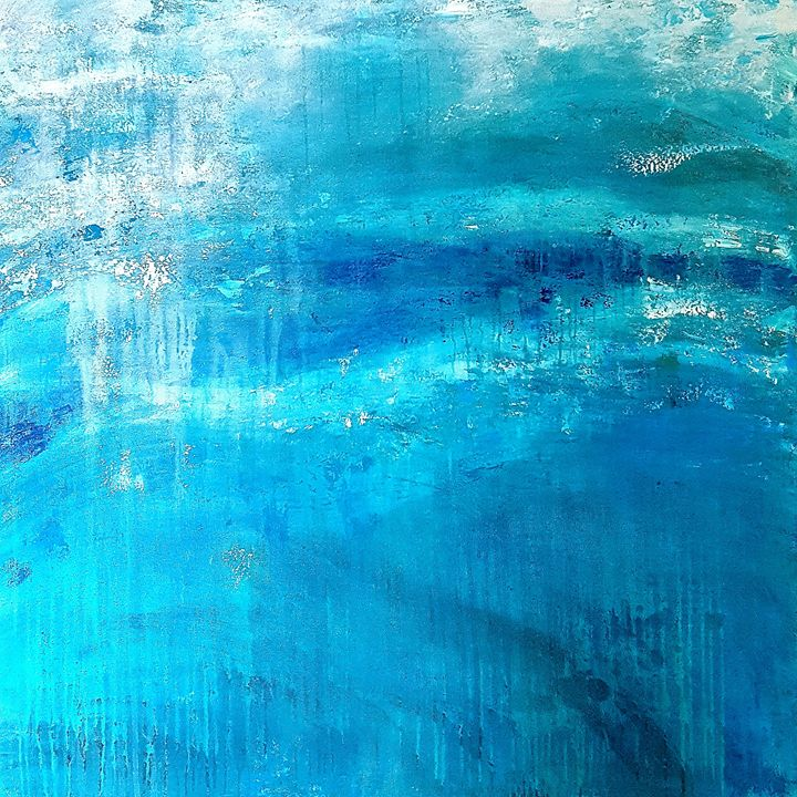 "Blue Lagoon- SOLD - ""Wildspringartstudio"" Laura Spring"