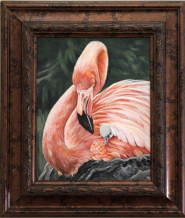 Flamingo Mum and Baby - Nan's Art Studio