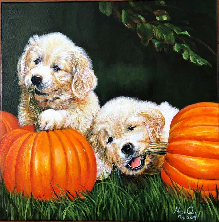 Puppies and Pumpkins - Nan's Art Studio