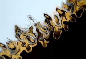Abstract Gold, Black, and Ice Blue