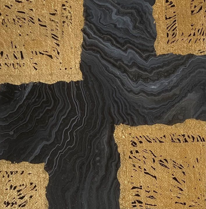 Abstract Metallic Gold Black - Brittany Jeanette