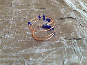 Blue beads spiral ring