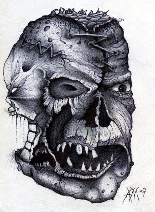 Deformed Monster Face - Horror Movie Art