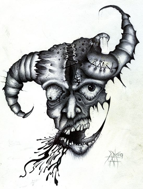 TWISTED MONSTER FACE - Horror Movie Art