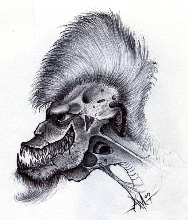 Mohawk Skeletal Monster - Horror Movie Art