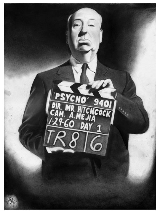 ALFRED HITCHCOCK PORTRAIT - POSTER - Horror Movie Art