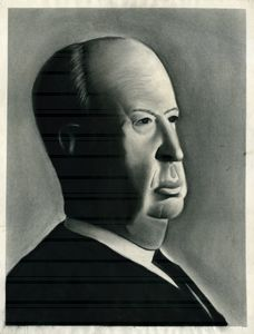 ALFRED HITCHCOCK PORTRAIT - charcoal