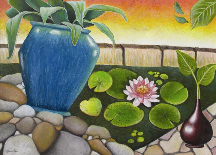 By The Lily Pond - Melissa White (Easelartworx)