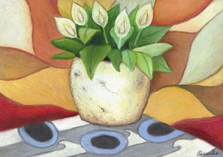 pot plant in oil pastels - Melissa White (Easelartworx)