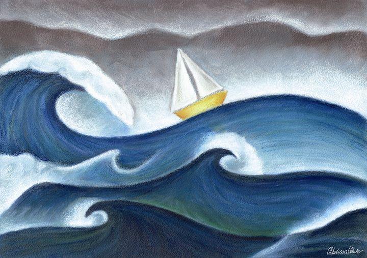 Sail boat at sea - Melissa White (Easelartworx)