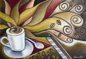 Cafe theme in oil pastels