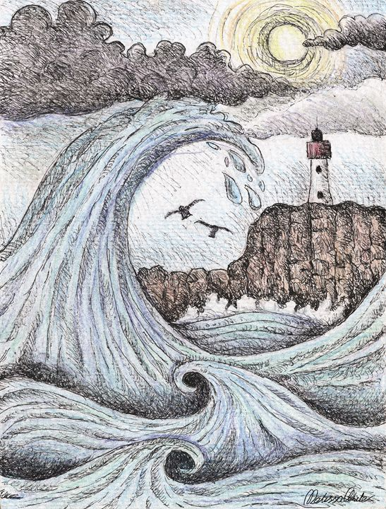 Waves by the lighthouse - Melissa White (Easelartworx)
