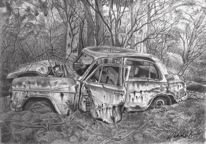 Old Rusty Car Wreck - Melissa White (Easelartworx)