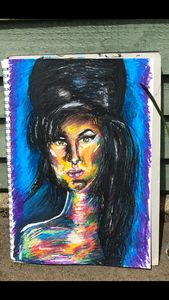Oil pastel drawing of Amy Winehouse