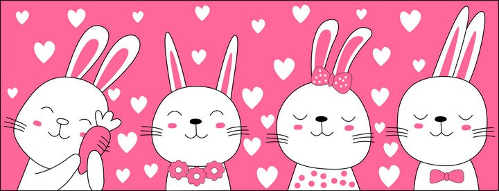 Four rabbits in different positions - Abhitheart