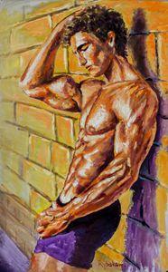 Athletic guy at wall Original oil pa