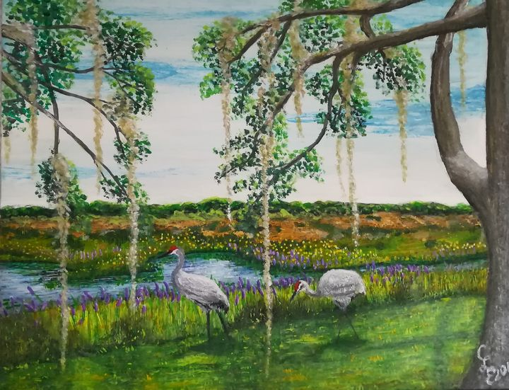 Sandhill Cranes Courting - Chris Cross Art Studio