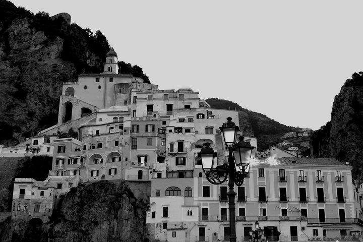 Amalfi Village in Black and White - Bentivoglio Photography