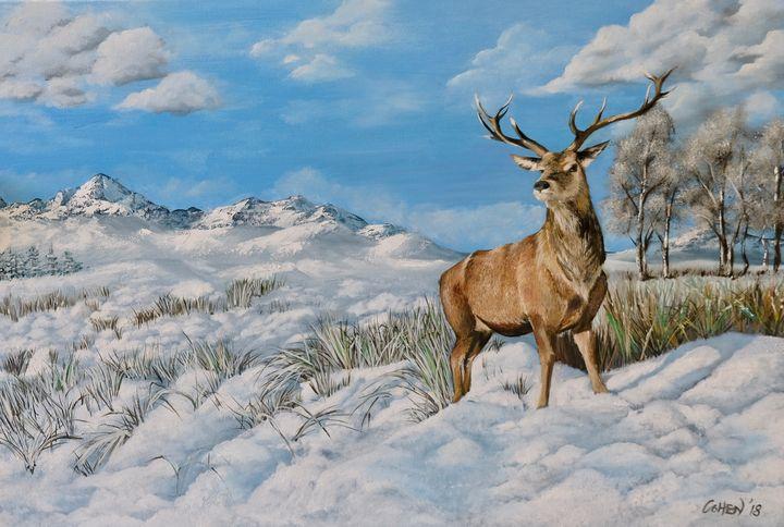 Stag on Snow Original Oil Painting - Realistic Animal Art