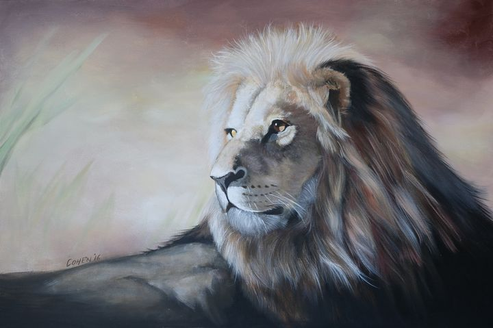 African Lion Original Painting - Realistic Animal Art