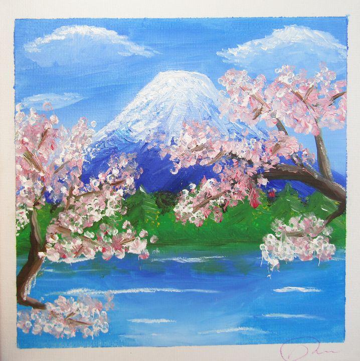 Mount Fuji Sakura in oil - Alexandra Bede