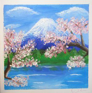 Mount Fuji Sakura in oil
