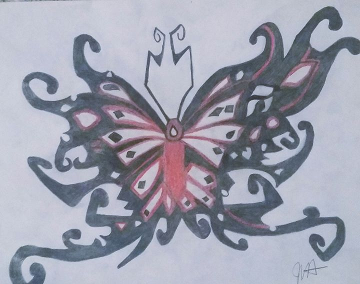 Black and Red Tribal Butterfly - Jenny Von Doom