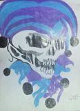 Purple and Blue Skull J Drawing 8x11