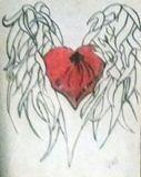 Heart With Wings Color Pencil Drawin
