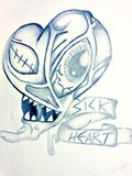 Black and White Demented Heart 8x11