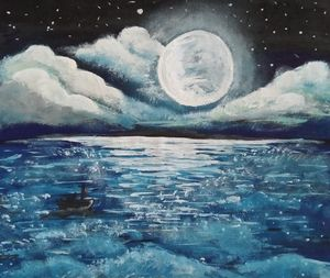 peaceful moonlight seascape