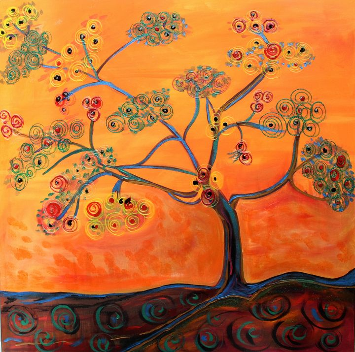 "Orange Flamboyan-36""x36"" on Canvas - Vega Questell Gallery"