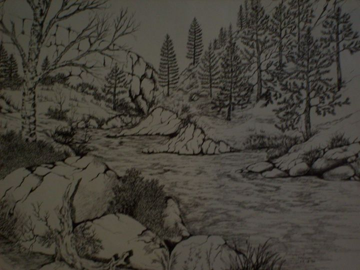 Waters coming down a mountain stream - Antoinette Parker