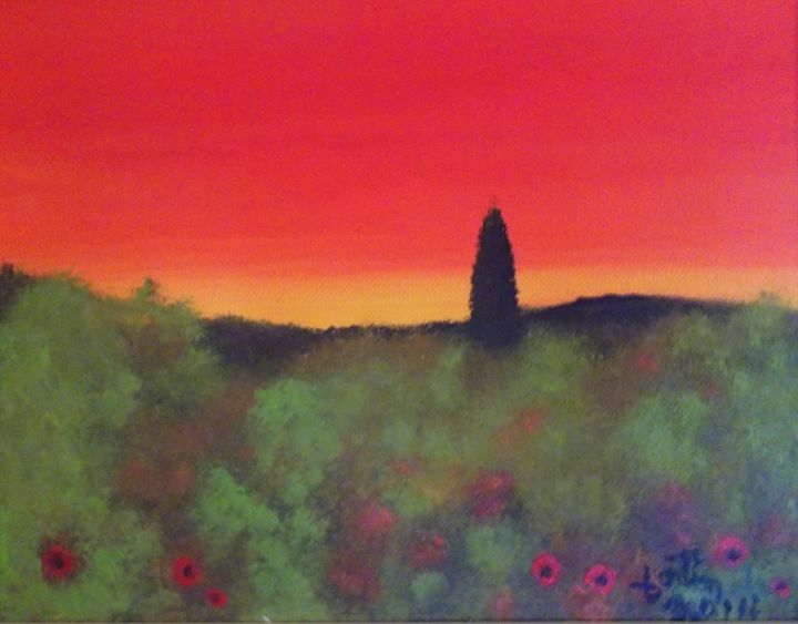 paysage rouge - galerie fortin lise-marielle