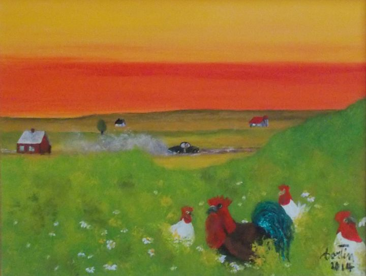 coq a 3 poules - galerie fortin lise-marielle