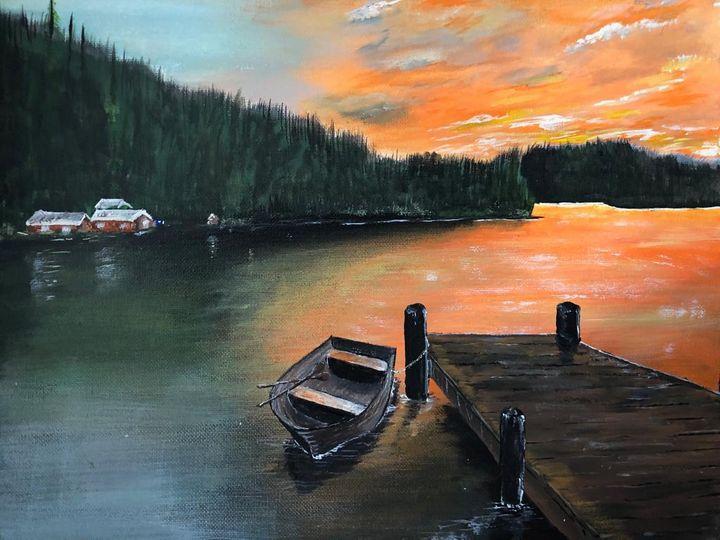 Tethered boat on calm lake - JavuArts