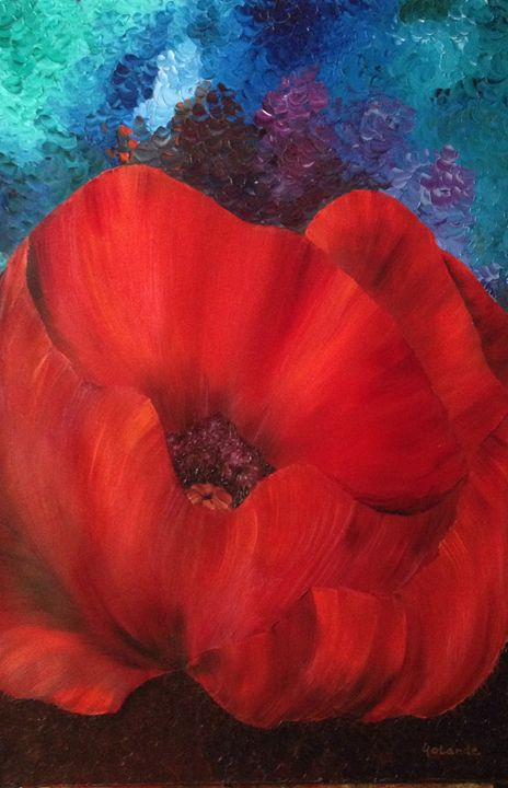 Poppy in Flames - Paintings by Yolande