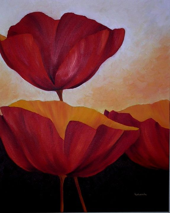 Orange Glow Poppies - Paintings by Yolande