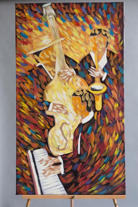 """""""Jazz Band"""" Painting by Hose Ejatica - International Art Project"""