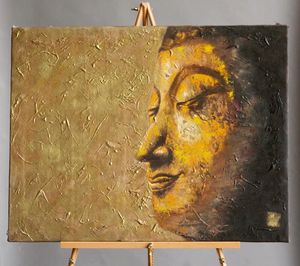 """Golden Buddha"" Canvas Painting"