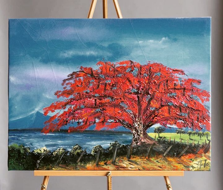 """""""Red Tree"""" Canvas Painting - International Art Project"""