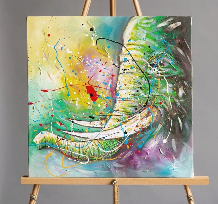 """Green Elephant"" Canvas Painting - International Art Project"