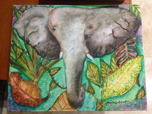 16x20 Original Elephant in Jungle