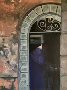 Black cat in doorway
