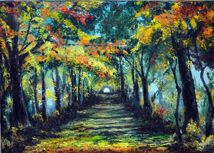 a road through the forest - oil paintings