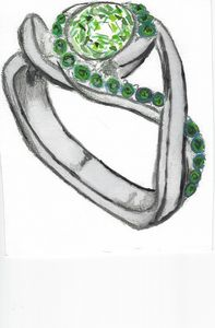 Watercolor diamond ring