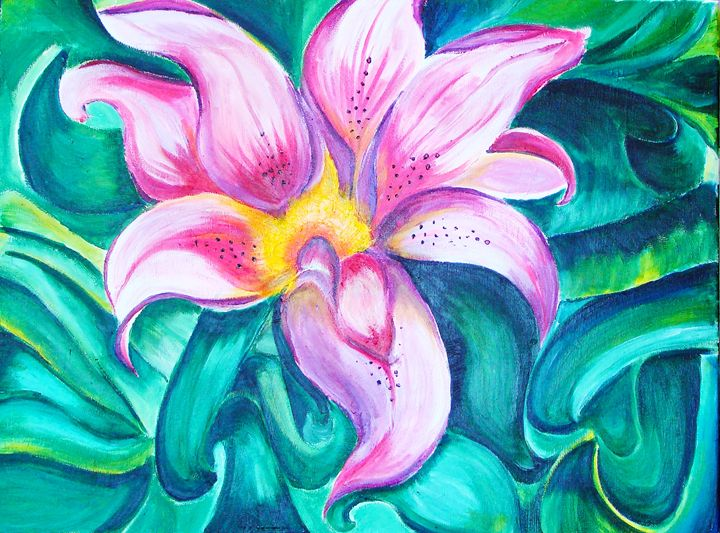 """Acrylic """"Abstract Tiger lily"""" - Tazy's Gallery"""