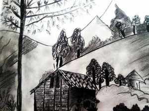 Black and white charcole painting...