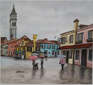 A rainy day in Burano, Italy